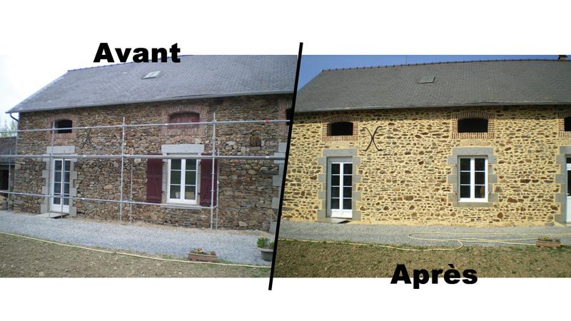 Refection de fa ade en pierre laval mayenne sarl for Refection de facade maison